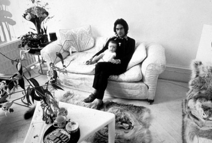 Triangle coffee tables, chocolate biscuits, Ossie Clark and his son