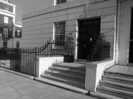 The steps of 36 Eaton Place where the Field Marshall fell fatally wounded.