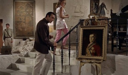 At about an hour into the first James Bond film released in October 1962, Dr Julius No shows 007 around his lair. At one point Bond does a double-take as he realises it's Goya's Duke of Wellington portrait perched on an easel by some stairs.