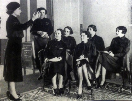 Fascist training at the Women's BUF HQ. Mary Richardson is standing at the back.