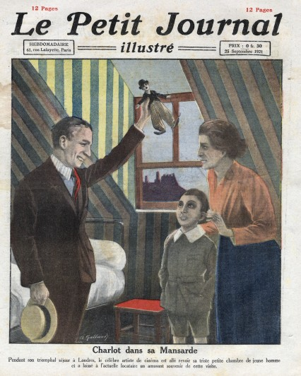 Le Petit Journal dated 25th September 1921. Chaplin is seen visiting the Lambeth room, where he once lived and which had inspired his film 'The Kid'.