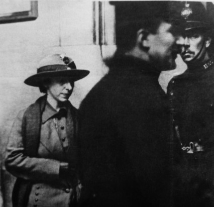Mary Richardson at the National Gallery after her arrest, 1914.