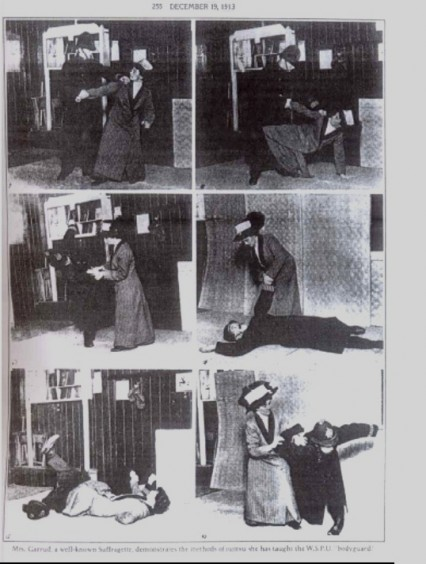 Mrs Garrud demonstrating her Ju-Jitsu skills against a 'policeman'.