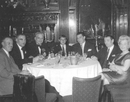 Lord Boothby and Ronnie Kray with friends and associates at the Society Restaurant
