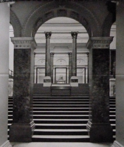 The stairway at the National Gallery. At the top of which Goya's Wellington portrait was exhibited in 1961.