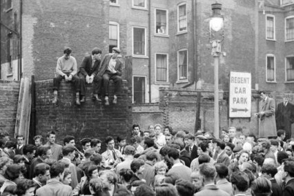 Skiffle band playing on an old bomb site in Soho 1956