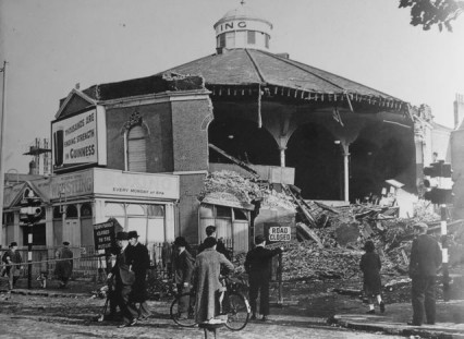The Blackfriars' Ring partly destroyed by a bomb October 1940