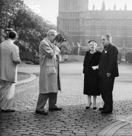Sir Robert Boothby filming outside Parliament in 1954