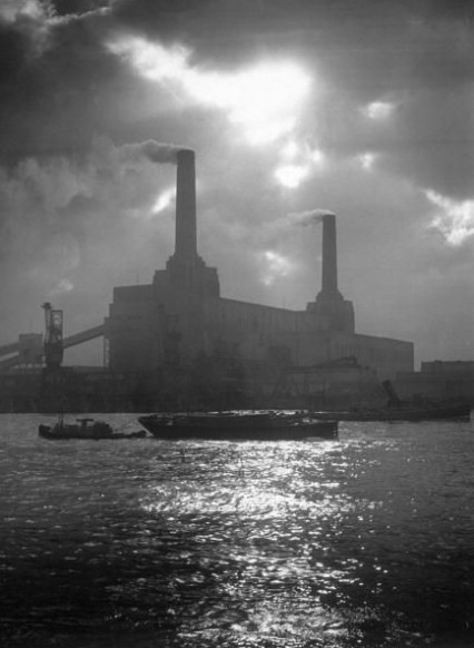 Battersea Power Station at sunset circa 1938