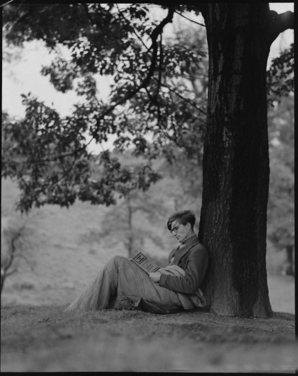 Colin Wilson reading on Hampstead Heath in 1956