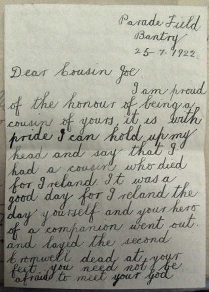 A letter sent to O'Sullivan while waiting for his execution