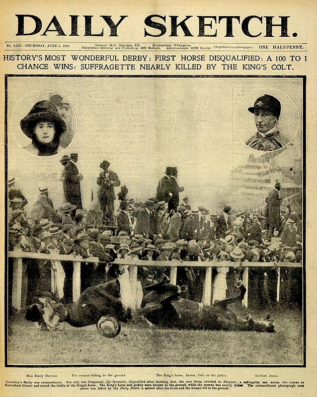 The epsom derby and the deaths of emily wilding davison and herbert dailysketchfrontpage large fandeluxe Images