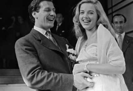 The marriage of Diana Dors to Dennis Hamilton at Caxton Hall, July 1951