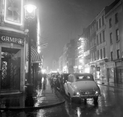 Frith Street in 1956, known as Froth Street in the heyday of the coffee bars