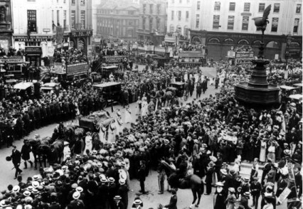 funeral procession at Piccadilly Circus