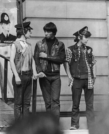 Three rather unscary Hells Angels guarding 144 Piccadilly September 1969