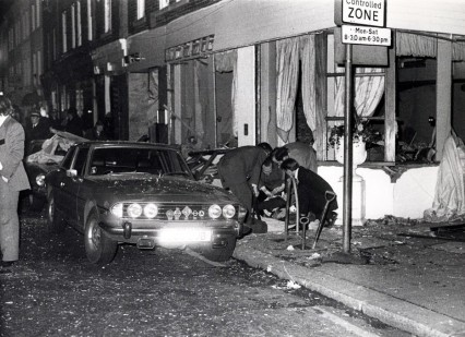 Police at the scene of the IRA Walton Street bomb