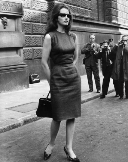 Christine Keeler outside the Old Bailey 1st April 1963