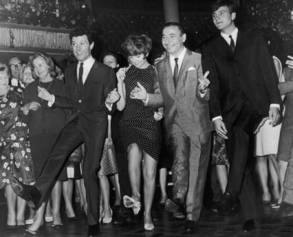 Lionel Blair accompanied by Cilla Black, Joe Loss and Billy J Kramer dance 'The Kick'