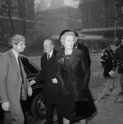 Margaret Thatcher and Airey Neave arriving at Ross McWhirter's memorial service