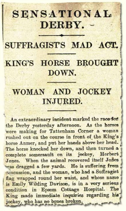 Morning Post headline 5th June 1913