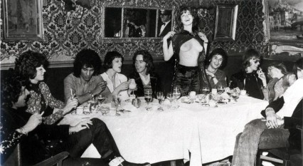 Ossie, no stranger to a convivial night out, and friends