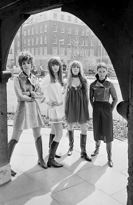 Linda Keith, Chrissie Shrimpton, Suki Poitier and Annie Sabroux displaying the Ossie Clark and Alice Pollock winter collection April 1967