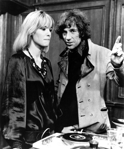 Donald Cammell and his former lover Anita Pallenberg on the set of Performance