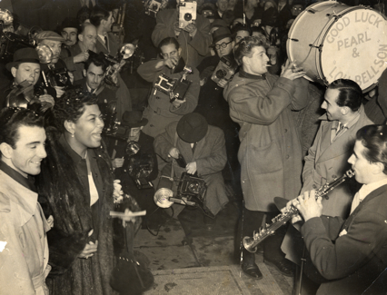 Louie Bellson and Pearl Bailey outside Caxton Hall, November 1952.