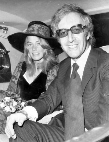 Back again. Peter Sellers leaving Caxton Hall with his third wife Miranda Quarry in 1970