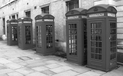 There must have been a rugby scrum of reporters around these phone boxes outside Bow Street Magistrates Court, June 14 1968
