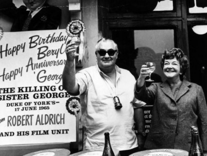 Robert Aldrich celebrating Beryl Reid's birthday during filming
