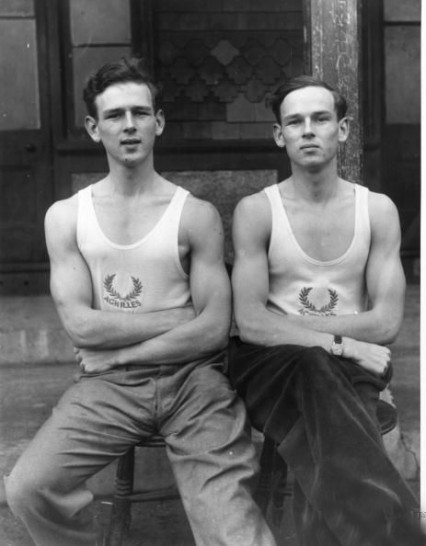 Ross and Norris McWhirter in 1953, a year before the first Guinness book of Records was published.