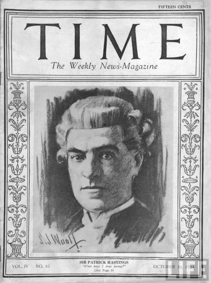 Sir Patrick Hastings on the cover of Time in 1924
